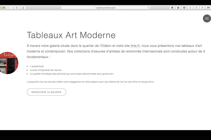 galerieartmoderne paris portfolio bldwebagency agence web